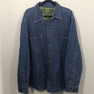 Eddie Bauer L/S Plaid Flannel Lined Denim Shirt